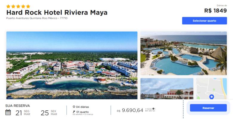 simulacao do site trivago com os valores de um quarto duplo no Hard Rock Maya All Inclusive